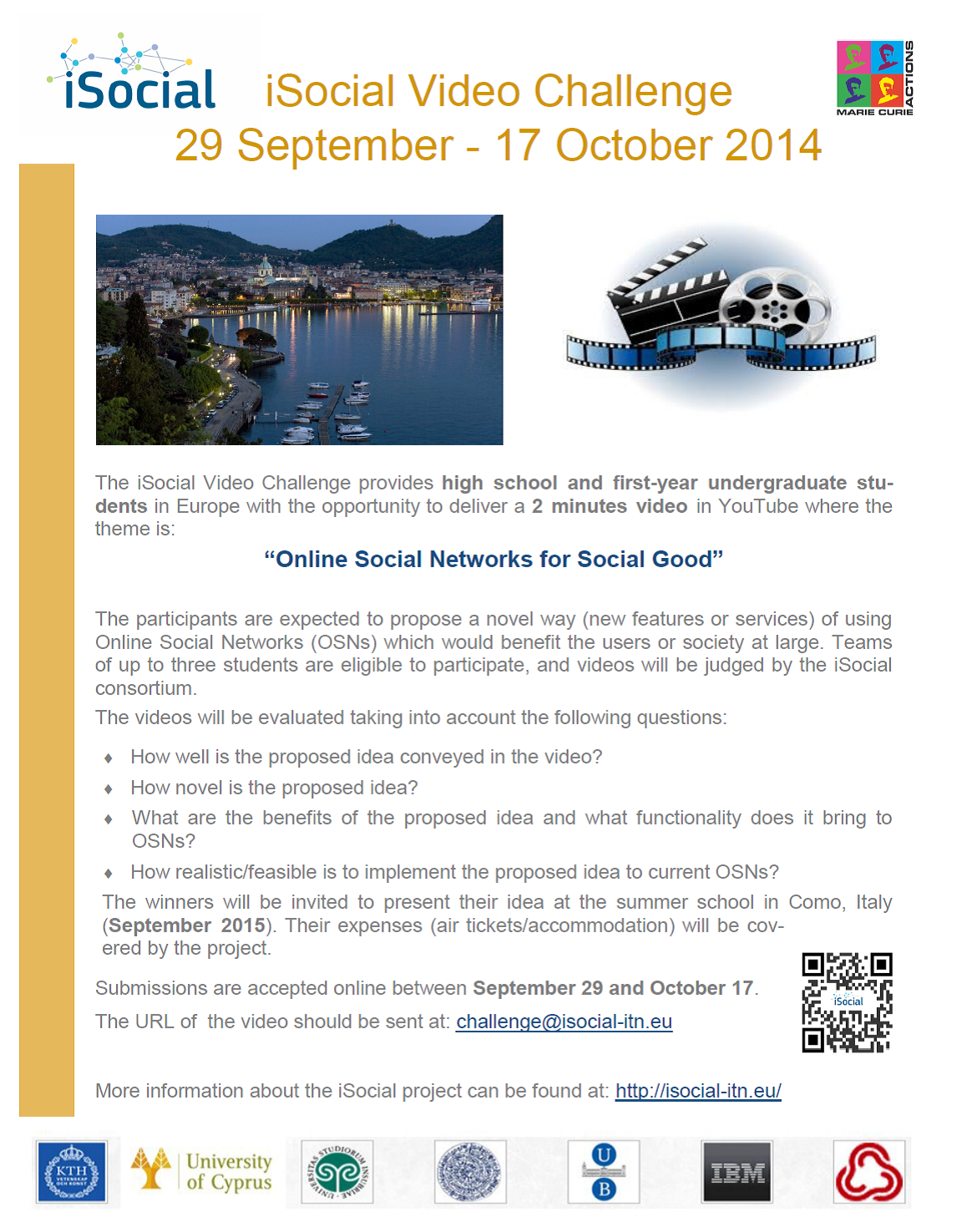 iSocial Video Challenge, 29 September - 17 October 2014
